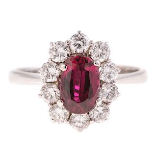 A Lady's 1.50ct Ruby & Diamond Ring in 14K