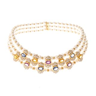 A Lady's Diamond, Gemstone & Pearl Necklace in 18K