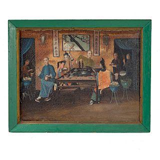 Canton School, 19th c. Banquet Scene, oil