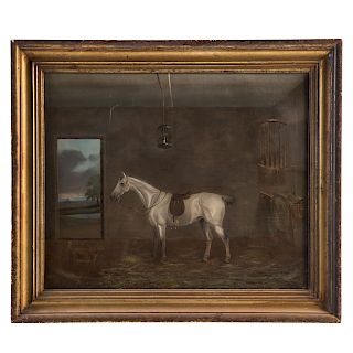 J. Herdman. Prize Horse in Stable, oil on canvas