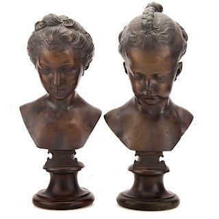Attr. Etienne M. Falconet, Sylvie & Lydie bronzes