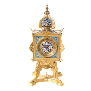 French Moorish style bronze and champleve clock
