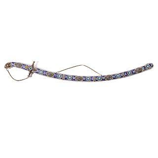 Persian presentation sword in enameled scabbard