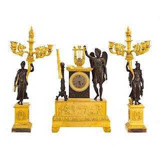 French Empire figural clock garniture