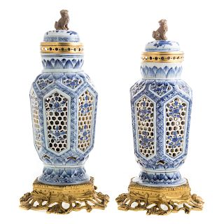 Pair Chinese Export blue/white double wall urns