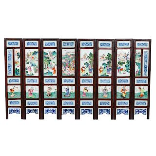 Chinese Famille Rose porcelain/wood screen