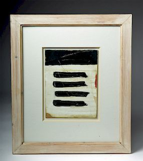 "A. Johnstone Mixed Media, ""Black Walled Ships"", 1994"