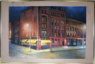 Manner of Edward Hopper, Street Scene. Signed