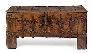 A French Gothic Iron Mounted Oak Chest Height 30 x width 62 3/8 x depth 25 1/4 inches.