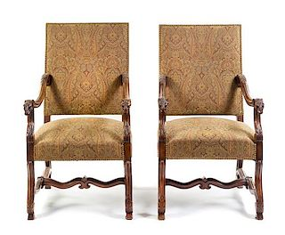 A Pair of Louis XIII Style Armchairs Height 45 inches.