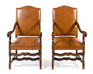 A Pair of Louis XIV Style Fauteuils Height 44 1/4 inches.