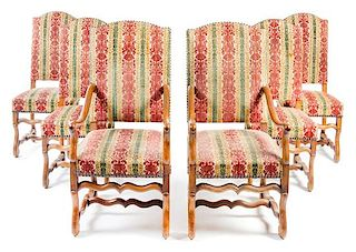 A Set of Eight Louis XIV Style Dining Chairs Height 44 inches.