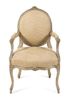 A Louis XV Painted Fauteuil Height 36 inches.