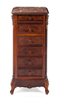 A Louis XV Style Rosewood Commode Cabinet Height 35 1/2 x width 16 x depth 15 1/4 inches.