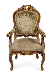 A Louis XV Style Painted and Parcel Gilt Fauteuil Height 42 3/4 inches.