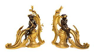 A Pair of Louis XV Style Gilt and Patinated Bronze Chenets Height 15 1/2 inches.