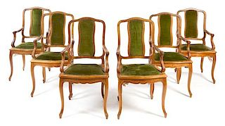 A Set of Six Louis XV Style Fauteuils Height 39 inches.
