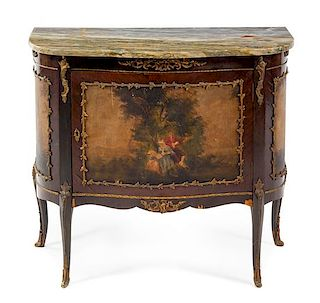 A Louis XV Style Painted Commode Height 31 3/4 x width 35 1/2 x depth 17 1/4 inches.