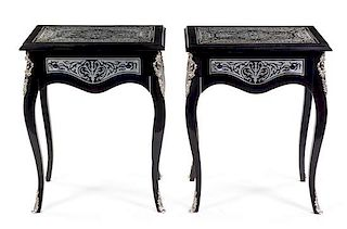 A Pair of Louis XV Style Pewter Inlaid Ebonized Side Tables Height 29 1/2 x width 23 1/2 x depth 15 1/2 inches.