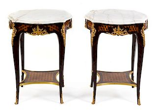 A Pair of Louis XV Style Parquetry and Gilt Metal Mounted Tables Height 27 1/2 x width 21 1/4 x depth 21 1/4 inches.