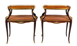 A Pair of Louis XV Style Gilt Metal Mounted Two-Tier Serving Tables Height 35 x width 32 x depth 21 1/2 inches.