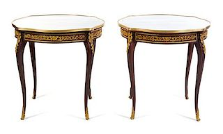 A Pair of Louis XV Style Gilt Bronze Mounted Gueridons Height 30 1/4 x width 31 3/4 x depth 31 3/4 inches.