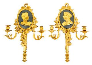 A Pair of Louis XV Style Enameled Gilt Bronze Two-Light Sconces Height 23 3/4 inches.