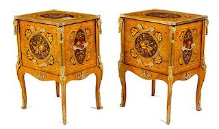 A Pair of Louis XV Style Gilt Bronze Mounted Marquetry Side Cabinets Height 32 x width 23 x depth 18 inches.
