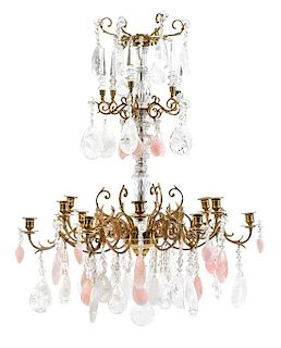 A Louis XV Style Gilt Bronze, Rose Quartz and Rock Crystal Twelve-Light Chandelier Height 32 inches.
