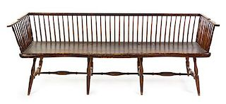 An American Bamboo-Turned Windsor Bench Height 30 x width 82 1/2 x depth 27 inches.