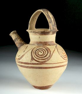 Greek Mycenaean Pottery Spouted Askos w/ Spiral Motifs