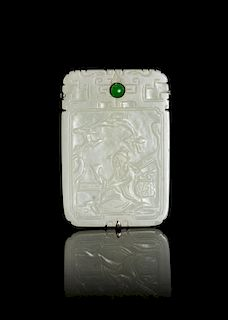 A Celadon Jade Plaque Height 1 7/8 inches.