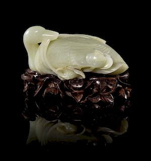 A Jade Figure of Duck Height 2 3/4 x width 5 inches (without stand).