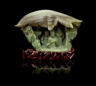A Jade Figural Group Height 5 3/4 x width 9 inches.