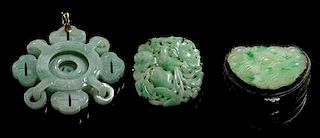 A Collection of Jadeite Articles Width of widest 2 1/8 inches.
