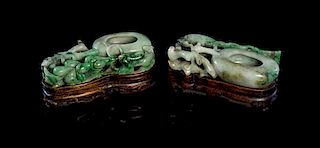 A Pair of Jade Coupes Height 2 inches.