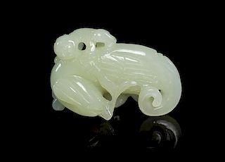 A Jade Figural Toggle Length 2 1/4 inches.