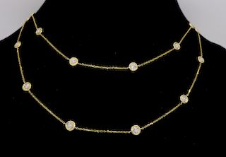 14K Yellow Gold Diamonds By The Yard Style Necklace