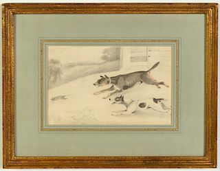 """Samuel Alken """"Two Terriers Chasing a Rodent"""" P/WC"""