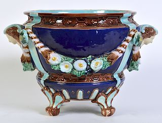 Minton Majolica Footed Jardiniere W/ Floral Swags