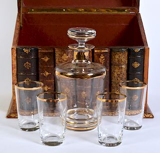 Leather Book Bar with Decanter Set