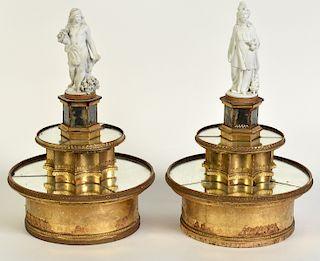 Pr. French Mirrored Centerpieces W/ Bisque Figure