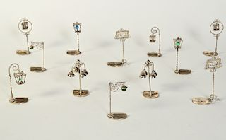 12 Assorted Place Card Holders in 800 Silver