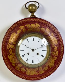 Jean-Antoine Lepine French Red Tole Wall Clock