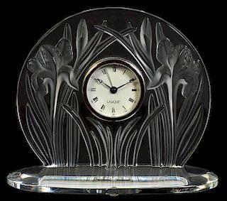 Lalique Iris Crystal Table Clock