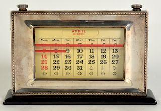 English Sterling Framed Perpetual Desk Calendar