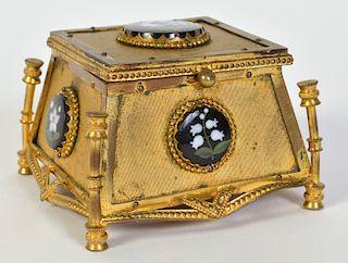 Victorian Bronze & Porcelain Trinket Box