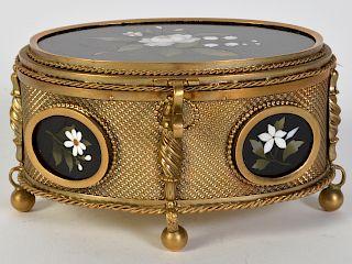 Victorian Gilt Bronze Pietra Dura Jewelry Casket