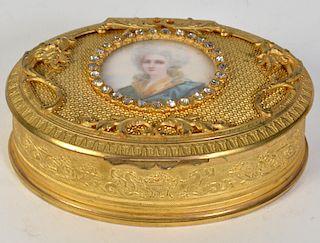 Gilt Bronze Ormolu Box with Mini Portrait