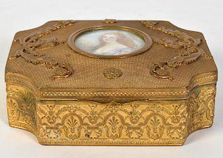 Bronze Gilt Trinket Box with Mini Portrait